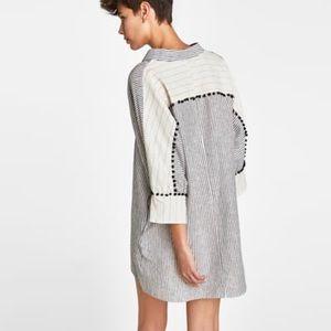 •ZARA• Linen Dress with Contrasting Stripe